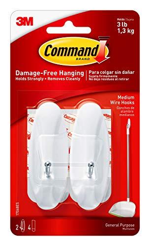 Command White Wire Hooks, Organize Damage-Free, 2-Hooks, 4-Strips (17068ES)