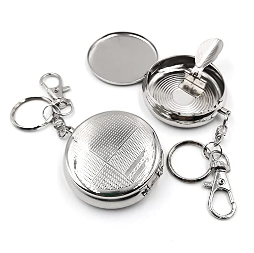 [BEAUTY PLAYER]2個セット 携帯灰皿 灰皿 アッシュトレイ ポータブル はいざら ふた付き 車用灰皿 おしゃれ 軽量 便利 シルバー