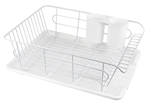 パール金属 食器 水切り かご 水が流れる トレー付 ホワイト 白 アルデオ HB-3466