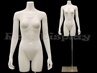 (MD-TFW-IV) ROXY DISPLAY Female Mannequin Torso With nice figure and arms. Removable neck and Arms. Fiberglass material. Steel base included. Matte White Color. Including base.