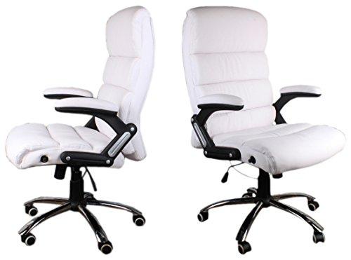 GIOSEDIO Chefsessel BSD Deco Chefsessel Bürostuhl Drehstuhl Bürodrehstuhl PU-Leder (Weiß)