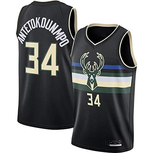 BXWA-Sports Milwaukee Bucks Camiseta de Baloncesto NBA # 34 Giannis Antetokounmpo Black Tops de Camiseta Deportiva Deportiva de Baloncesto Resistente al Desgaste Transpirable,L