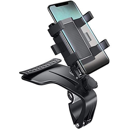 bobotron Soporte de teléfono para coche con clip en el soporte de teléfono para coche, soporte ajustable para smartphone de 3 a 7 pulgadas