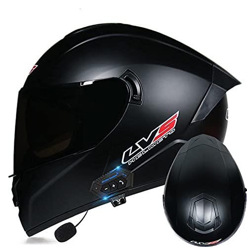 Casco integral Bluetooth Casco de motocicleta modular frontal abatible Hombres Mujeres Moto Ciclomotor Casco de carreras Casco de motocross aprobado ECE visera doble,C,S 55~56cm