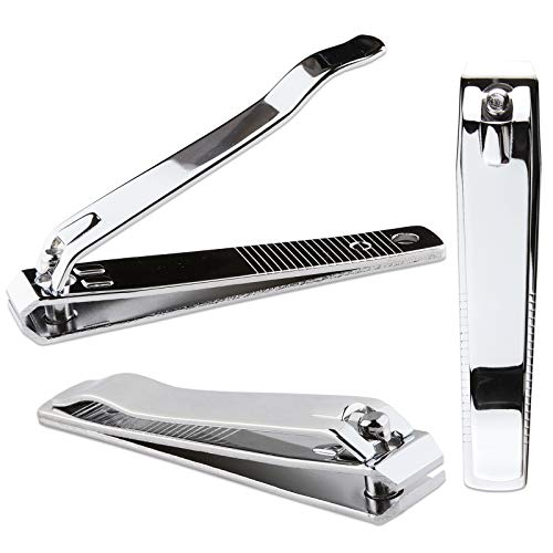 Beauticom Professional Sharp Stainless Silver Steel Finger Nail & Toe Nail Clippers for Acrylic Nails (3 Pieces, Straight)