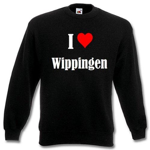 Reifen-Markt Sudadera I Love Wippingen para mujer, hombre y niños en los colores negro, blanco y azul con impresión Negro M