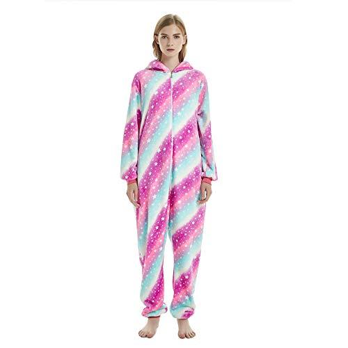 Kika Monkey Pijama disfraz de unicornio para adultos de franela, tipo mono morado S