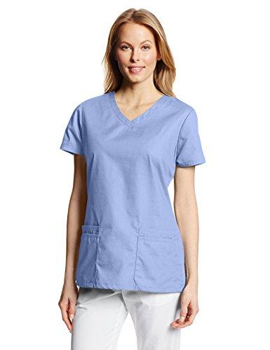 Dickies EDS Signature Damen Top mit V-Ausschnitt und Mehreren aufgesetzten Taschen Jr - Blau - Mittel