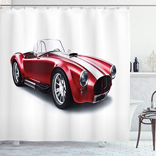 "Ambesonne Cars Shower Curtain, Old-Fashioned Vintage Coupe Car Automobile Illustration with Digital Smooth Color Effects, Cloth Fabric Bathroom Decor Set with Hooks, 75"" Long, Red"