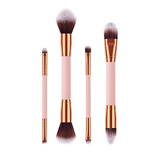 Doppelseitiges Make-up-Pinsel-Set, 4-tlg. Protable, weiche Borsten, Kosmetikpuder, Rougepinsel-Set...