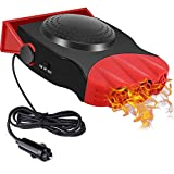 Car Heater, 2 in 1 12V 150W Portable Car Fans Defroster Defogger, 3-Outlet Plug Adjustable Thermostat in Cigarette...