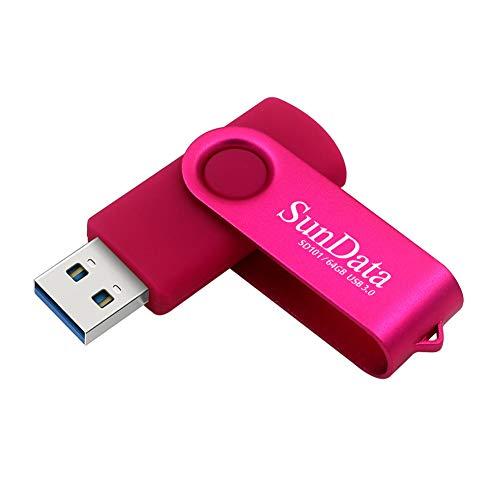 SunData Chiavetta USB 3.0 64GB Pendrive Girevole archiviazione dati pen drive Fino a 90 MB/s, (Confezione Singola: Rosa)