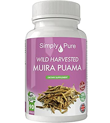 New - Muira Puama 90x Capsules - High Strength (500mg) - 100% Natural - Vegan - Exclusive to Amazon - Simply Pure - Moneyback Guarantee by Simply Pure Ltd