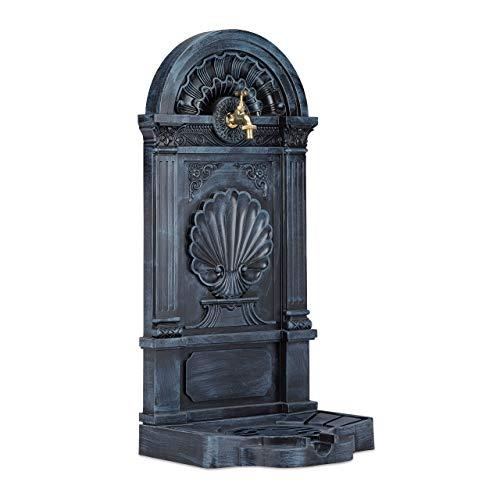 Relaxdays Standbrunnen, Antik-Stil, Nostalgie, Garten, Terrasse, Wasserhahn, Becken, stehend, HBT: 83 x 39 x 33 cm, grau