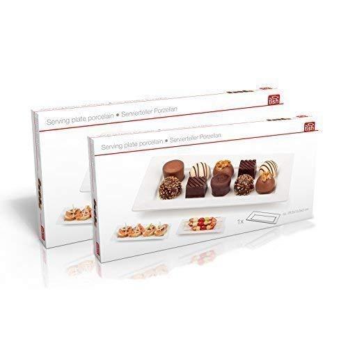 Clic-And-Get Piatti di Servizio Porcellana Piatto di Portata Piatti servire Vassoio Rettangolare Bianco - Set Risparmio da 2