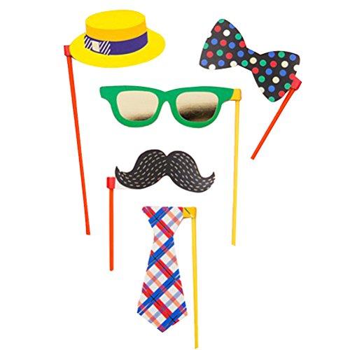 Tinksky 5Pcs Party Foto Booth Stützen Posing Stützen Hüte Gläser Schnurrbart Bogen Krawatte Kit für Party Dekoration 5