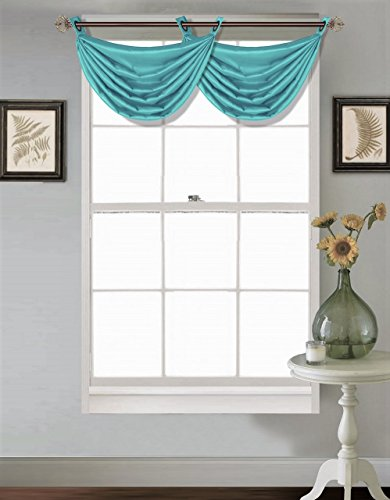 """GorgeousHome (V24) 1PC Solid Turquoise Aqua Faux Silk Versatile Multi Use Luxury Antique Grommet Window Valance Topper Waterfall Swag Treatment 55"""" X 24"""""""