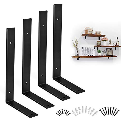 Shelf Brackets 12 Inch Heavy Duty Black Brackets for Shelves Corner L Bracket for Hanging DIY Storage Or Decorative Shelving-Multiple Sizes Available 4 PCS (12')