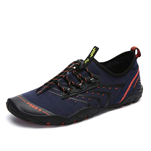Zapatos de Agua Hombre Mujer Zapatillas para Playa Surf Natación Calzado Piscina Secado Rápido Escarpines Azul Oscuro 42