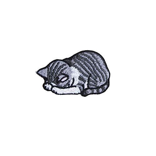 アイロンワッペン 刺繍 動物 ネコ (5 サバ白)