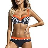 IFOUNDYOU 50Er Damen Bademode Bikini Set Push Up Hohe Taillen Bauchweg Gestreift