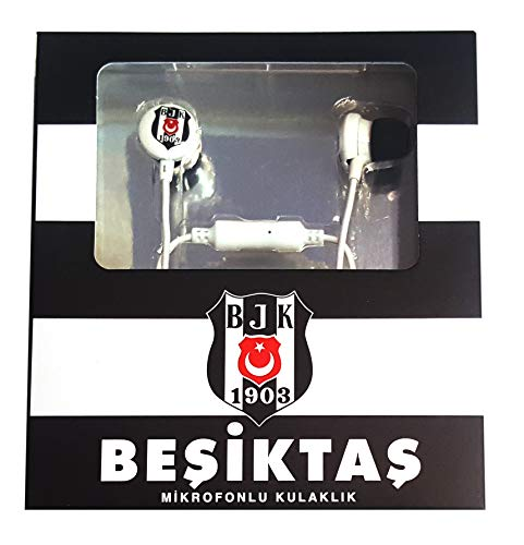 Besiktas Istanbul in-ear hoofdtelefoon met microfoon volumeregeling metalen behuizing smartphone PC notebook tablet headset Android