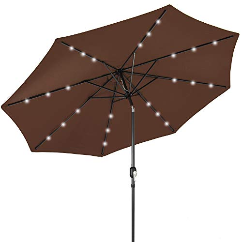 Best Choice Products 10ft Solar Powered Aluminum Polyester LED Lighted Patio Umbrella w/Tilt Adjustment and Fade-Resistant Fabric, Brown