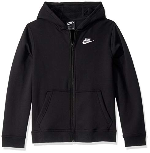 NIKE B NSW Hoodie FZ Club Sweatshirt, Niños, Black/Black/(White), XL