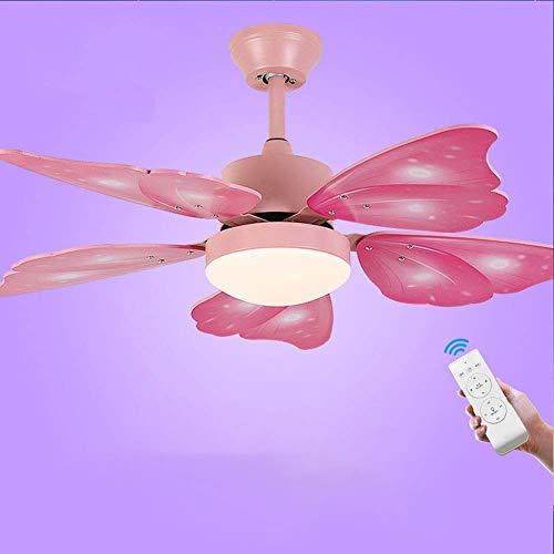 WLP-WF Lámpara de Techo para Habitación de Niños Ventilador con Iluminación, Control Remoto, Silenciosas Aspas de Madera, Ventilador de Techo con Atenuación de 3 Colores en Forma de Mariposa, Dormito