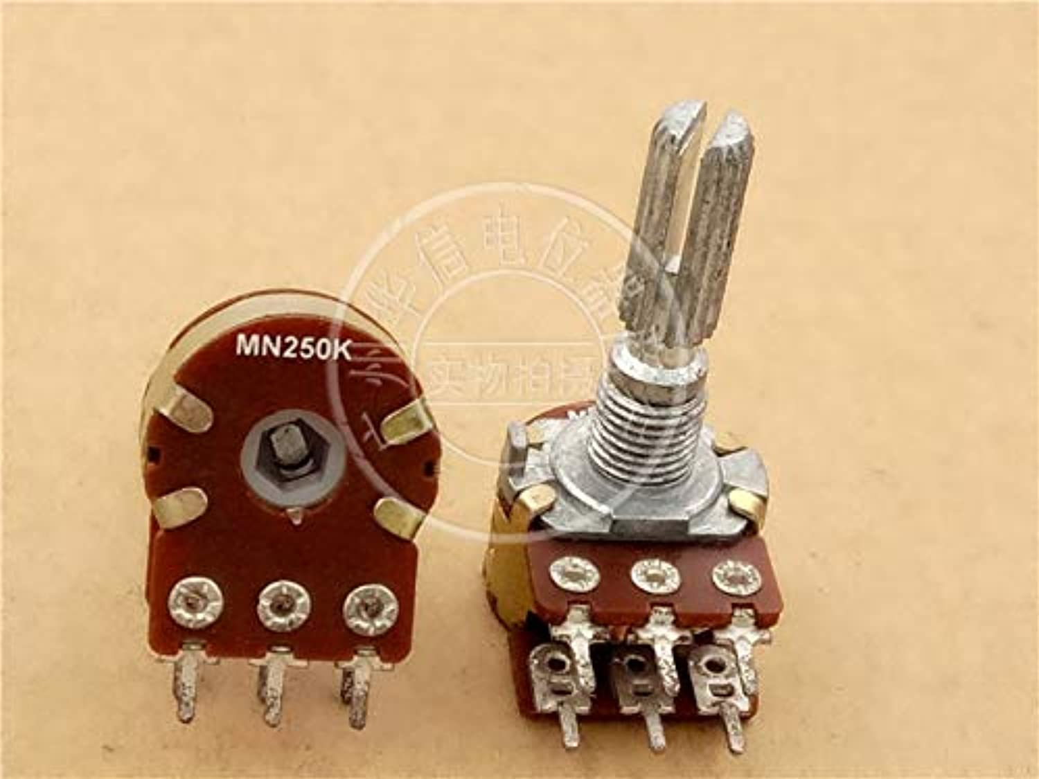 2pcs Taiwan Double Balance Potentiometer MN250K   with Midpoint Middle Back to Zero   25MM Handle Knurled Shaft