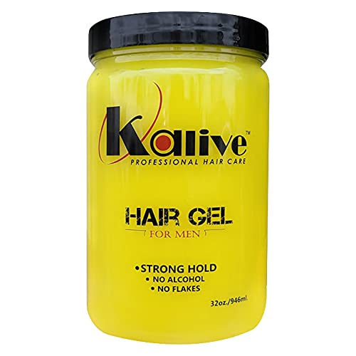 Kalive2style 32oz Mens Hair Styling Gel, Strong Hold Hair Gel for Men with All-Day Shine and Refreshing Fragrance, Non-Flaking and No Alcohol