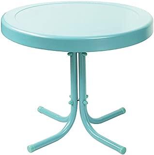 Crosley Furniture Gracie Retro 20-inch Metal Outdoor Side Table - Caribbean Blue