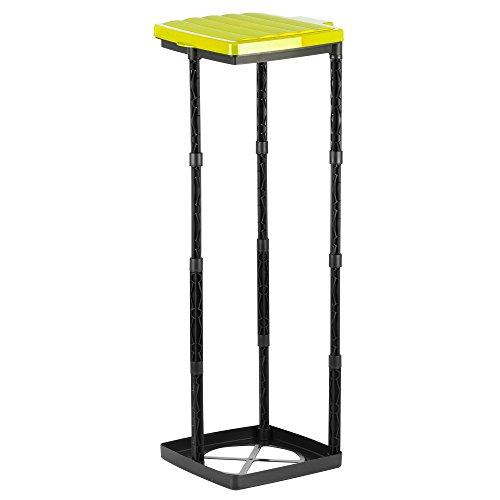 Grizzly Müllsackständer bis 120L Müllsackhalter in 3 Höhen verstellbar Abfallsammler mit gelbem Deckel Gelber Sack Ständer mit Klemmring Made in Germany