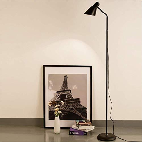 L-YINGZON Lámpara de pie moderna de cuello de cisne flexible contemporáneo altura ajustable de PVC Lampshade acabados de pintura de metal Negro lámpara de pie con el interruptor de botón for sala de e