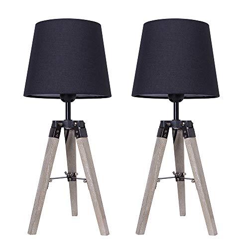 YJIIJY Nachttischlampe 2er Set, Tischleuchte mit Holzfüßen, Stoffschirm Design Leselampe Leuchte, Schwarz