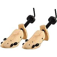 S & L Unisex profesional 2Vías zapatos árbol Camilla tamaño 4–13, ajustable Longitud y anchura, madera Shaper Set de 2, Wooden yellow, L(7.5-11)-Women&Men