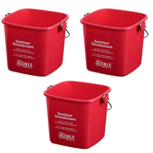 Small Red Sanitizing Bucket - 3 Quart Cleaning Pail - Set of 3 Square Containers