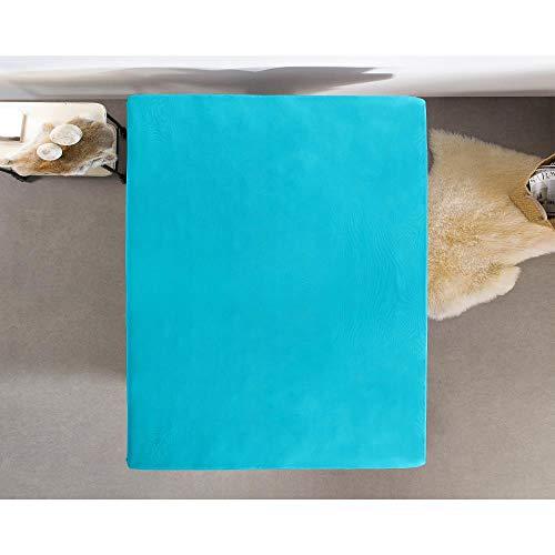Hoeslaken Jersey, stretchbaar voor boxsprings en waterbedden, kreukvrij, matrasbeschermer 80/90/100 x 200 Turquoise