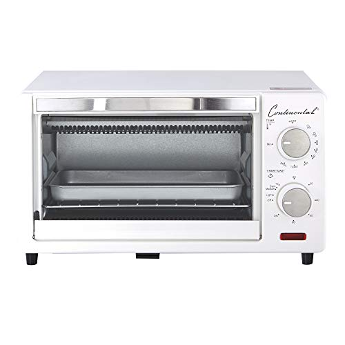 Continental Electric CE-TO101 Toaster Oven, 4-Slice, White