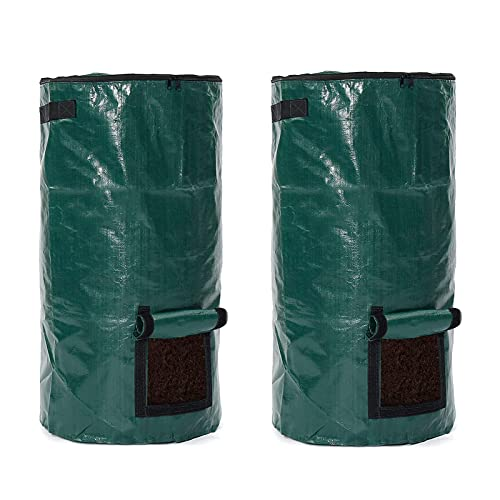 Bolsa de abono, paquete de 2 contenedores de abono de jardín de 15 galones / 34 galones Bolsas de abono de desecho de PE reutilizables(Size:45x45x80cm)