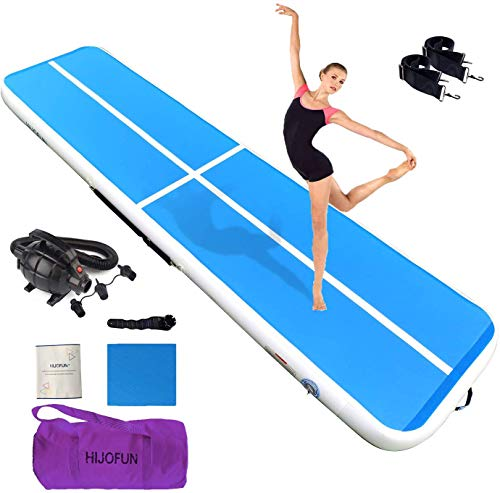 HIJOFUN Premium Air Tumble Track Gymnastics Tumbling Mat Inflatable Tumble Track 10ftx33ftx4in with Electric Air Pump for Home Kids/Gym/Yoga/Training/Cheerleading/Outdoor/Beach/Park Blue White