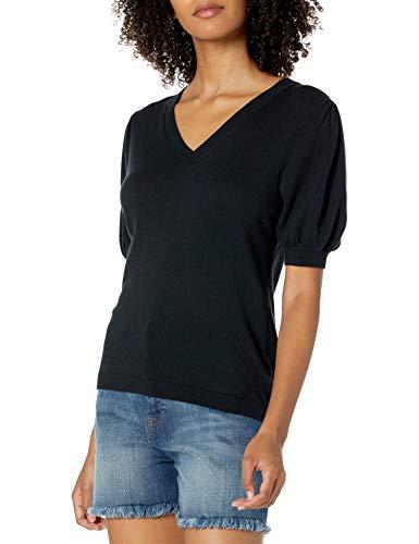 The Drop Women's Cindy Short Puff Sleeve Crew Neck Sweater, Black, XS