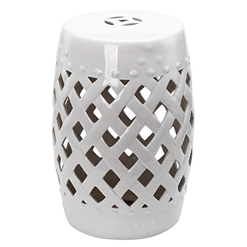 """Outsunny 13"""" x 18"""" Ceramic Side Table Garden Stool with Knotted Ring Design & Glazed Strong Materials, White"""