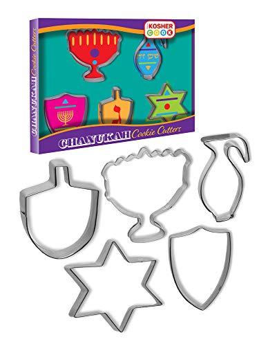 Hanukkah Cookie Cutters – 5 Piece Set - Menorah, Dreidel and Star Shaped Metal Cutters
