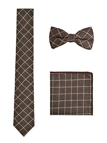 WANYING Herren Baumwolle 6cm Schmale Krawatte & Gebundene Fliege & Einstecktuch 3 in 1 Sets Trendmode Casual - Kariert Braun