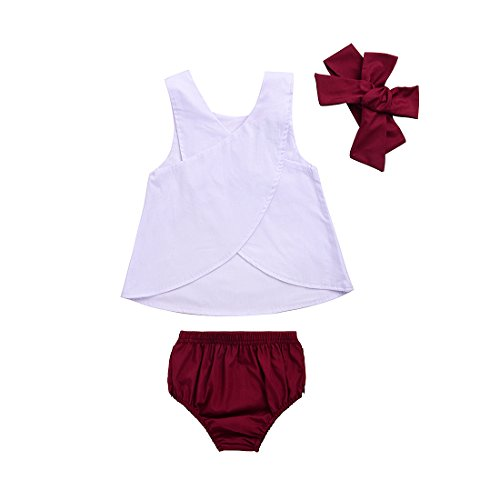 Toddler Baby Girls White Tank Vest Top Cross Back+Wine Ruffle Shorts+Headband 3Pcs Outfits Set (0-6 Months, A)