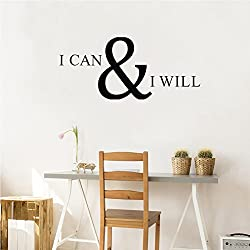 Inspirational Quote I CAN & I Will Wall Decal, Motivational Saying Positive Attitude Vinyl Wall Sticker for Classroom Bedroom Gym Room Decor, Inspiring Lettering Stickers Home Wall Decorations, Black