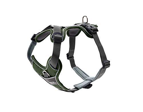HUNTER DIVO Hundegeschirr, Nylon, gepolstert mit Mesh-Material und Neopren, ergonomisch, reflektierend, M, grün/grau