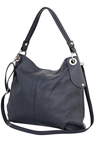 Ambra Moda GL012 - Borsa a tracolla da donna in vera pelle, Blu (Blu mare), Large