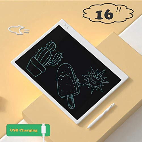 JAKTP Tableta De Escritura LCD De 16 Pulgadas, Tablero De Dibujo ElectróNico con Carga USB, Tableta GráFica con Bloqueo De Memoria (Blanco)